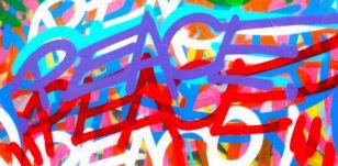 Chris Riggs, peace, acrilico su legno, 2012.